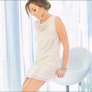 LC Lauren Conrad Ivory Light Sequin Mini Dress